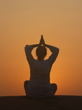 Sunset Meditation in the Desert, Abu Dhabi, United Arab Emirates, Middle East Photographic Print