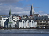 View Over Tjornin (Pond) to Church and Cathedral, Reykjavik, Iceland, Polar Regions Photographic Print