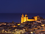 Norman Cathedral Lit Up at Dusk, Cefalu, Sicily, Italy, Mediterranean, Europe Photographic Print by John Miller