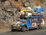 Heavily Loaded Jeepney, a Typical Local Bus, on Kennon Road, Rosario-Baguio, Luzon, Philippines Photographic Print