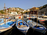Small Boats in the Harbour of the Island of Hydra, Greek Islands, Greece, Europe Fotografie-Druck