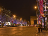 Champs Elysees at Christmas Time, Paris, France, Europe Photographic Print by Marco Cristofori