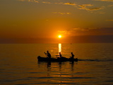 People Rowing Home at Sunset at Ifaty, Near Toliara, Madagascar, Indian Ocean, Africa Photographic Print