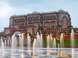 Water Fountains in Front of the Emirates Palace Hotel, Abu Dhabi, United Arab Emirates, Middle East Photographic Print by Gavin Hellier