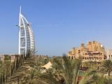 Burj Al Arab and Madinat Jumeirah Hotels, Dubai, United Arab Emirates, Middle East Photographic Print by Amanda Hall