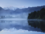 Lake Matheson, Mount Tasman and Mount Cook, Westland Tai Poutini National Park, New Zealand Photographic Print