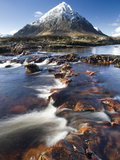 Winter View Over River Etive Towards Snow-Capped Buachaille Etive Mor, Rannoch Moor, Scotland Photographic Print