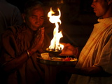 Priest and Devotee Performing Aarti, Haridwar, Uttarakhand, India, Asia Photographic Print