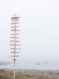 Destination Board, Spitzbergen, Bareninsel, Svalbard, Norway, Arctic, Scandinavia, Europe Photographic Print