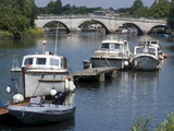 The Bridge Over the Thames With Pleasure Boats in the Foreground, Richmond, Surrey, England, Uk Photographic Print
