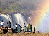 Tourists Viewing Victoria Falls, UNESCO World Heritage Site, Zimbabwe, Africa Photographic Print