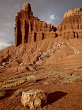 Chimney Rock With Storm Clouds, Capitol Reef National Park, Utah, USA Photographic Print