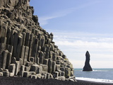 Basalt Cliffs and Rock Stack, Halsenifs Hellir Beach, Near Vik I Myrdal, South Iceland, Iceland Photographic Print by Lee Frost