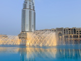 Downtown District With the Dubai Fountain, Address Building and Palace Hotel, Dubai, Uae Photographic Print by Amanda Hall