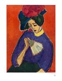 Dame mit Faecher Print by Alexej Von Jawlensky