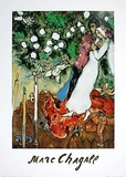 The three candels Print by Marc Chagall