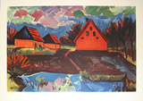 Rote H&#228;user Collectable Print by Max Pechstein