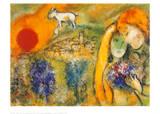 Liebende in Vence Schilderij van Marc Chagall
