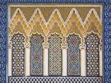Rigt udsmykket væg med farvede sten, det kongelige palads, Fez-El-Jedid, Fez, Fes, Marokko, Nordafrika Fotografisk tryk