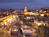 View Over Djemaa El Fna at Dusk With Foodstalls and Crowds of People, Marrakech, Morocco Photographic Print