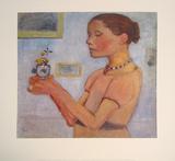 Junges Mädchen mit gelben Blumen im Glas Art by Paula Modersohn-Becker