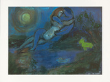 Blaues Paar am Wasser Prints by Marc Chagall