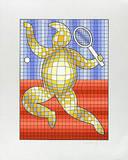 Tennis Rot/Blau auf Silber Silketrykk av Victor Vasarely