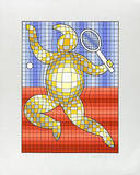 Tennis Rot/Blau auf Silber Siebdruck von Victor Vasarely