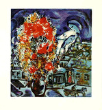 Blumenstrauss & Dorf in Blau Collectable Print by Marc Chagall