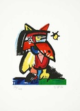 Katzenvogel mit Sonne Limited Edition by Otmar Alt