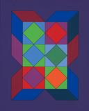 Ohne Titel XLVI (Lila) Spesialversjon av Victor Vasarely