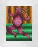Tennis Grün/Orange auf Silber Serigraph by Victor Vasarely