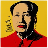 Mao Tse-Tung Kopf Beige-Rot S&#233;rigraphie par Andy Warhol