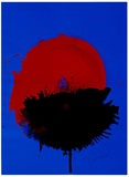 Streak rot-schwarz auf blauem Grund Limited Edition by Otto Piene