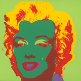 Marilyn Kopf Dunkelgr&#252;n-Rot-Gelb S&#233;rigraphie par Andy Warhol