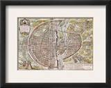 Paris Map, 1581 Framed Giclee Print by Georg Braun