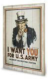 I Want You Wood Sign by James Montgomery Flagg