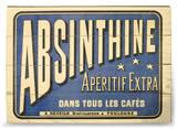 Absinthe Apertif Cartel de madera
