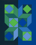 Ohne Titel XLIII (Dunkelblau) Spesialversjon av Victor Vasarely