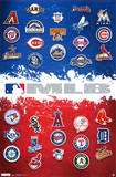 Major League Baseball Logos Map 2012 Poster