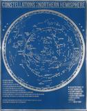 Constellations de l'hémisphère nord : fond bleu Sérigraphie par Kyle & Courtney Harmon