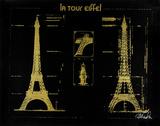 La Tour Eiffel : or sur fond noir Sérigraphie par Kyle & Courtney Harmon