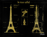 Eiffel Tower (Gold) Serigrafia por Kyle & Courtney Harmon