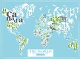The World, 2011 Political Map (Light Blue) Sérigraphie par Kyle & Courtney Harmon