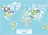 The World, 2011 Political Map (Light Blue) Serigraph by Kyle & Courtney Harmon