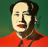 Mao Tse-Tung Kopf Gelb-Rot S&#233;rigraphie par Andy Warhol