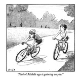 """Faster! Middle age is gaining on you!"" - New Yorker Cartoon Premium Giclee Print by Harry Bliss"