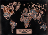 The World, 2011 Political Map (Black) Serigraph by Kyle &amp; Courtney Harmon
