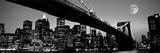 New York City - Brooklyn Bridge at Night B&amp;W Posters
