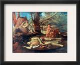 Echo And Narcissus Framed Giclee Print by Nicolas Poussin